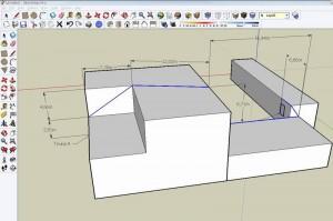 модель зданий и промер длины кабеля